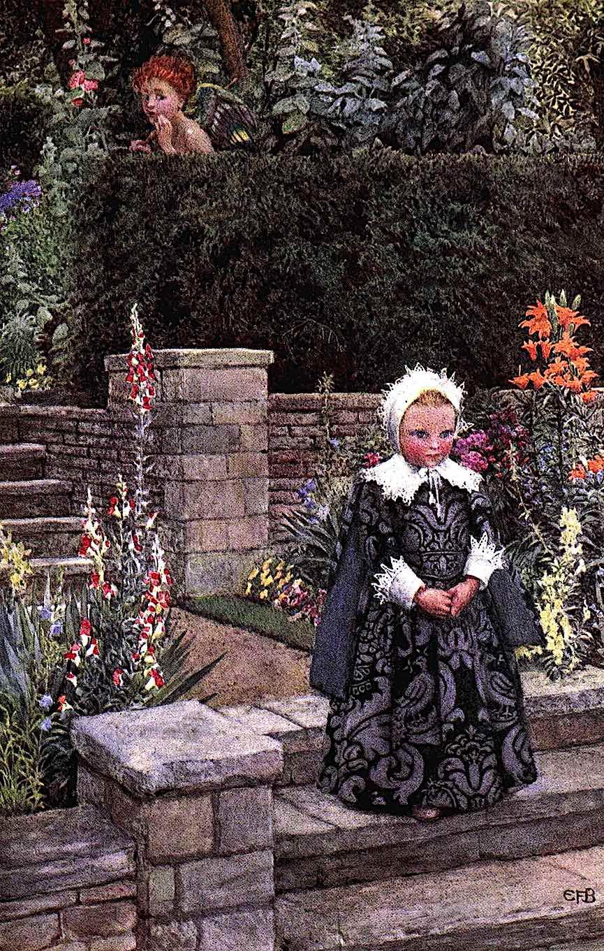 an Eleanor Fortescue Brickdale book illustration 1905, Strange little girl in a garden