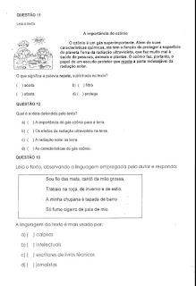 Avaliação diagnóstica português 4º ano