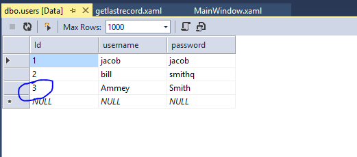 Get last record from Database using LINQ in WPF