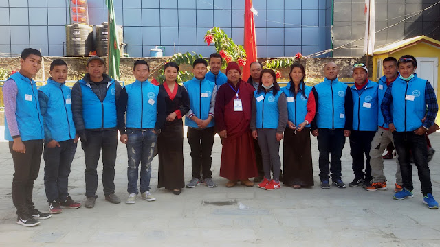 "The volunteers from Himalayan Sherpa Youth Club ""Khiraule"" for the 9th Nyingma Monlam Progamme held at Boudha, Kathmandu."
