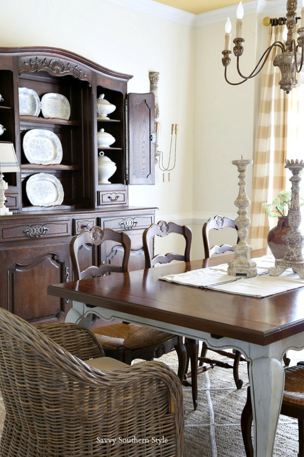 kubu and antique French dining chairs