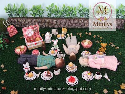 """""""minilys miniatures"""" """"cesta merienda"""" """"pasteles"""" 1:12"""