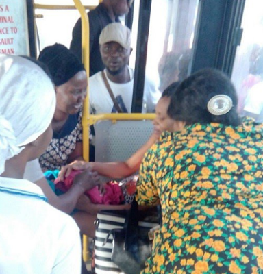 PREGNANT WOMAN IN LABOUR GIVES BIRTH INSIDE BRT IN LAGOS
