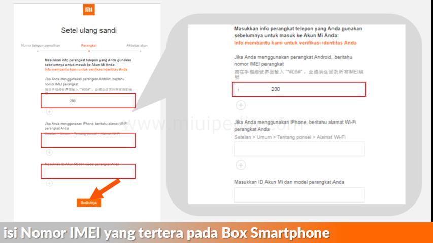 isi Nomor IMEI yang tertera pada Box Smartphone