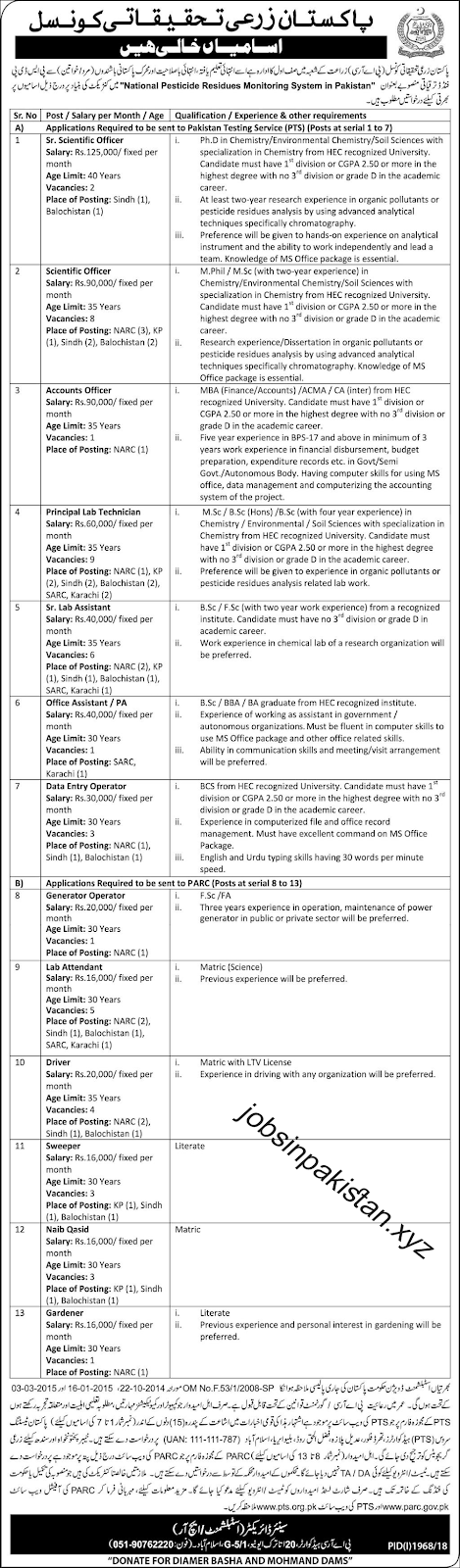 Advertisement for Pakistan Agriculture Research Council Jobs 2018