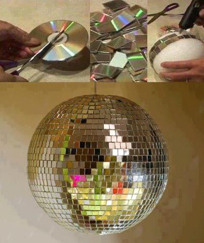 Globo espelhado feito com CDs