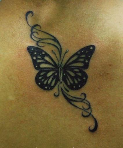 Negra Linda Tatuagem de Borboleta, com Redemoinhos