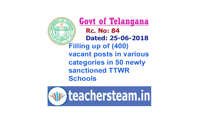 TTWREIS Filling up of 400 vacant posts in various categories in 50 newly sanctioned TTWR Schools GO.84 Dt:25-06-2018