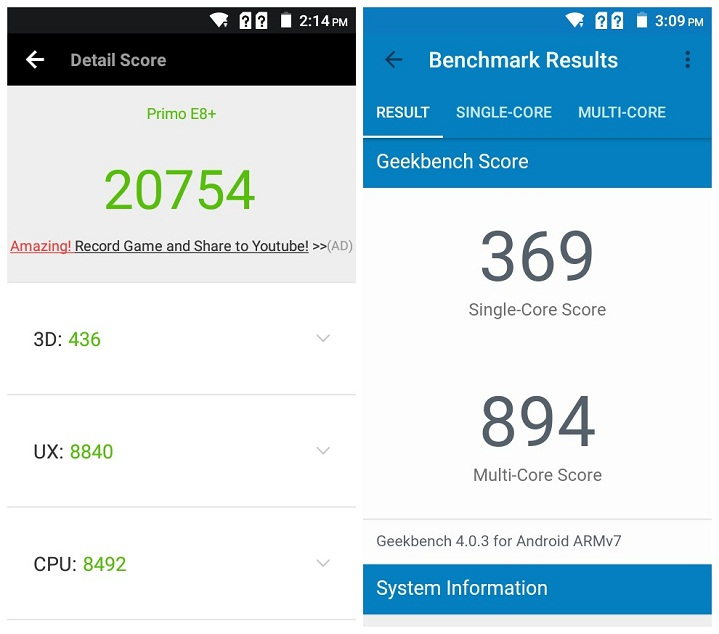 Primo E8+ review AnTuTu Benchmark Score