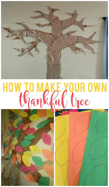 We started this tradition of a thankful tree three years ago and it's quickly become a family favorite!  I love reading what each of my kids are thankful for.