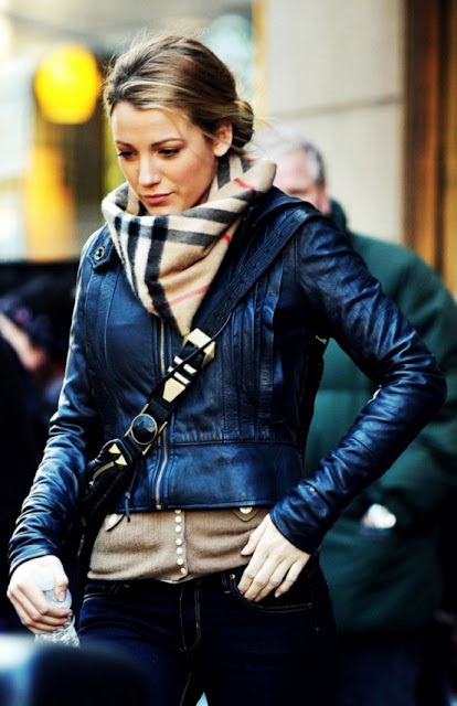 Burberry scarf and leather jacket
