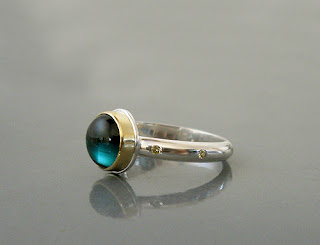 Blue Tourmaline and Sapphire ring.