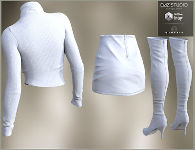 Leather Skirt Outfit for Genesis 3 Female