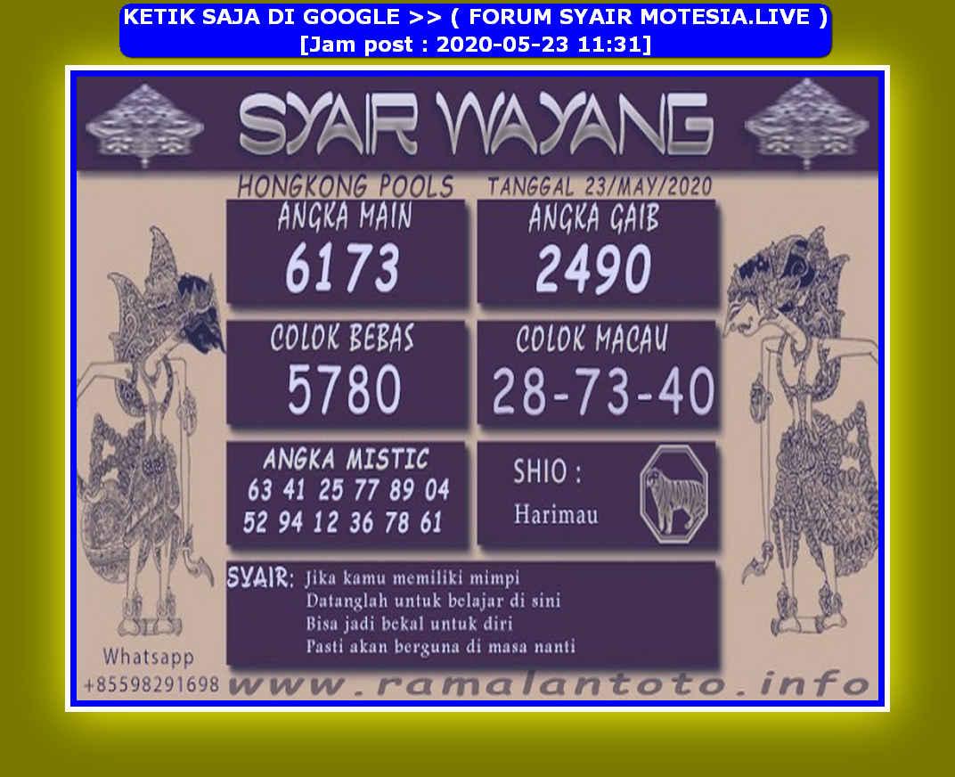 Kode syair Hongkong Sabtu 23 Mei 2020 207