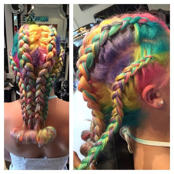 Stunning Rainbow Braids The Haircut Web