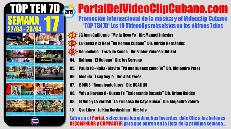 Artistas ganadores del * TOP TEN 7D * con los 10 Videoclips más vistos en la semana 17 (22/04 a 28/04 de 2019) en el Portal Del Vídeo Clip Cubano