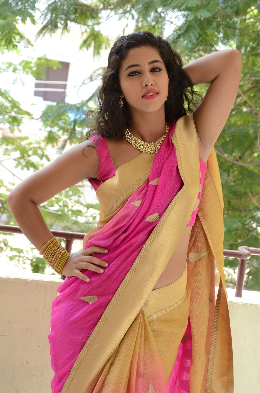 pavani new photos in saree-HQ-Photo-19