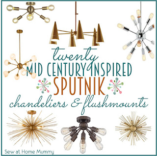 Awesome source list with links for a ton of reasonably priced 'Sputnik' or Starburst Mid Century style flush mount and chandelier lighting shipped straight to your door - by Erin Davis of Sew at Home Mummy, Chicago-based lifestyle and DiY Blogger and modern Quilter.