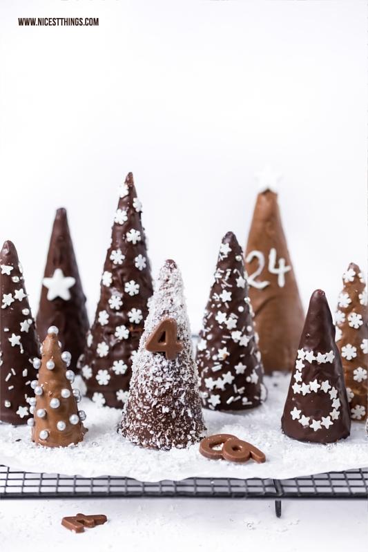 Eiswaffel Bäume Adventskalender DIY Eistüten Winterwald