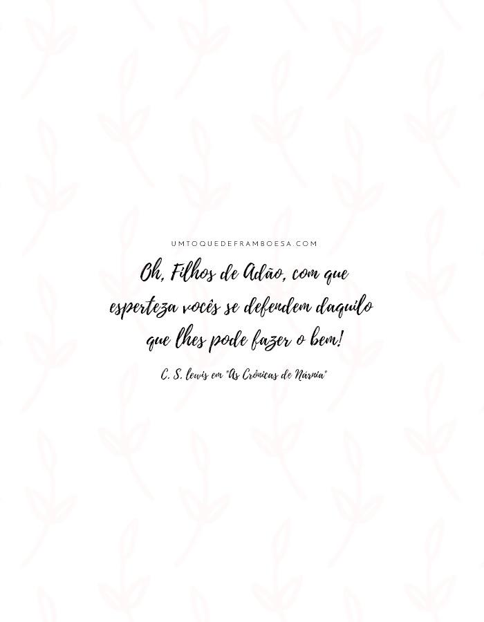 Oh, Filhos de Adão, com que esperteza vocês se defendem daquilo que lhes pode fazer o bem! - C. S. Lewis em As Crônicas de Nárnia