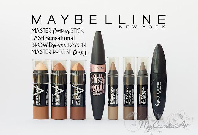 Maybelline Gama Master Contour, Máscara Lash Sensational, lápices para cejas Brow Drama y eyeliner Master Precise Curvy.