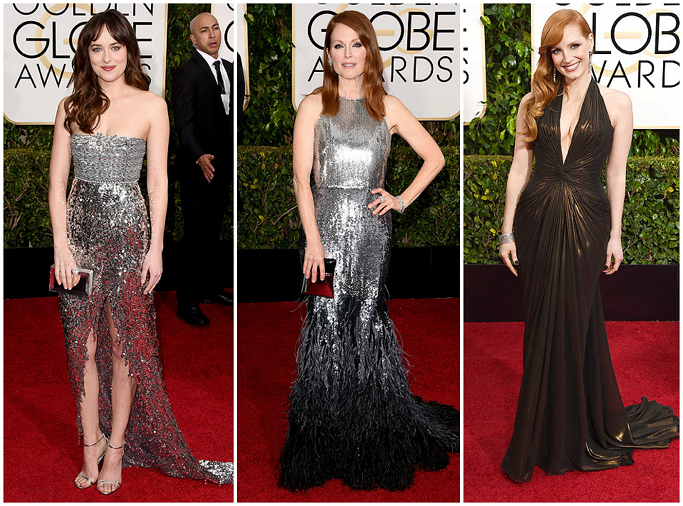 Dakota Johnson in Chanel Couture at Golden Globes Red Carpet Julianne Moore in Givenchy at Golden Globes Red Carpet Jessica Chastain in Versace at Golden Globes Red Carpet