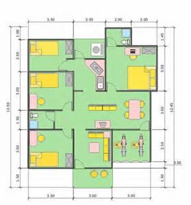 Contoh Gambar Denah Rumah 3 Kamar Tidur Minimalis Paling Populer