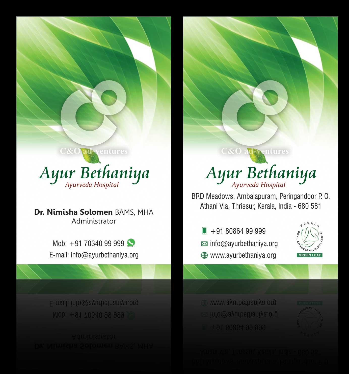 c amp o adventures business card for ayurveda hospital
