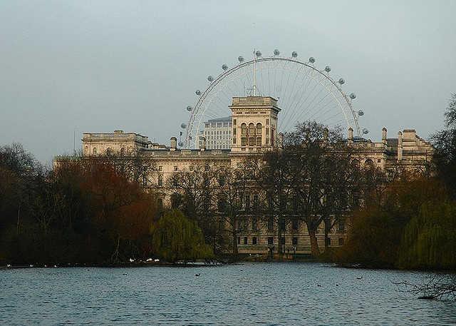 London Eye across the St. James Park