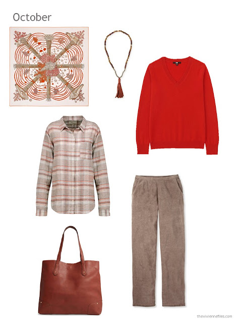 a cool-weather outfit in orange and brown based on an Hermes scarf
