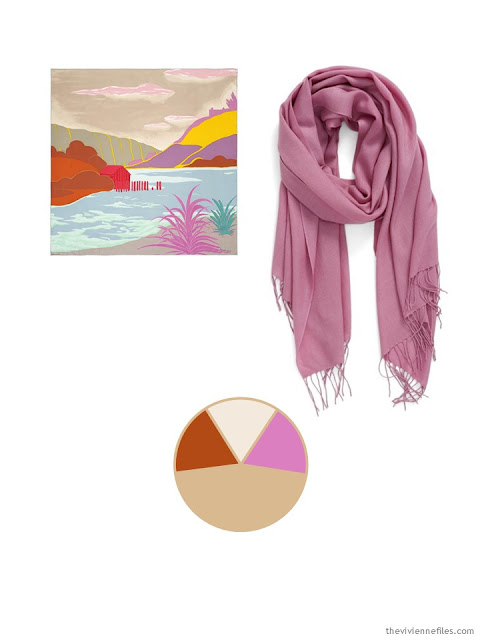 two classic scarves, in sand, orange and rose, and a color palette based upon them