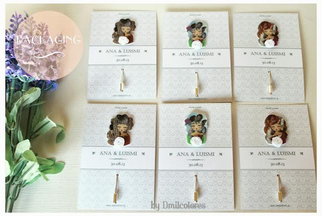Alfileres ilustrados muñecas boda