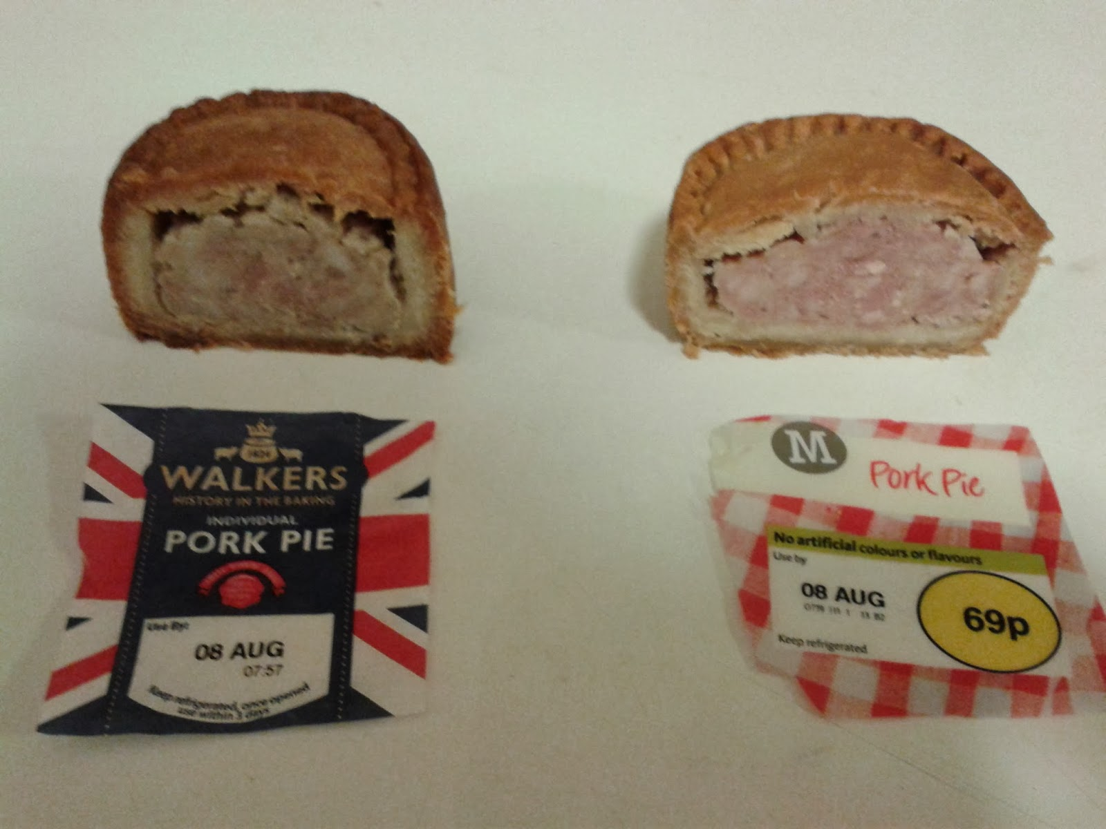Pork pie comparison halved
