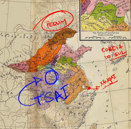 Mapa indicando a província de T'sai (ou Cai), no Período das Primaveras e Outonos da China Antiga