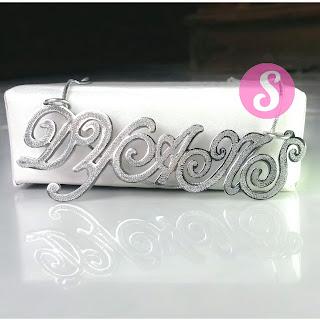 kalung nama monel silver grafir - dyans