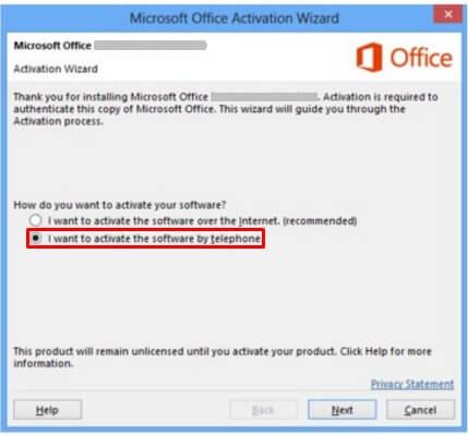 activate office 2013 via phone