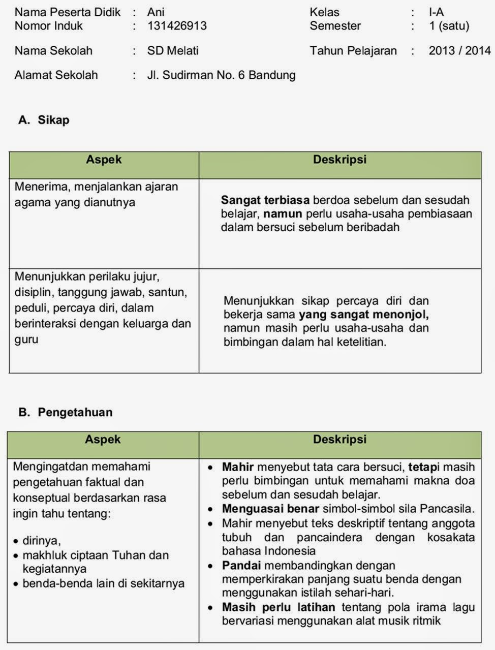 Pesan Guru Di Raport : pesan, raport, Contoh, Catatan, Raport, IlmuSosial.id