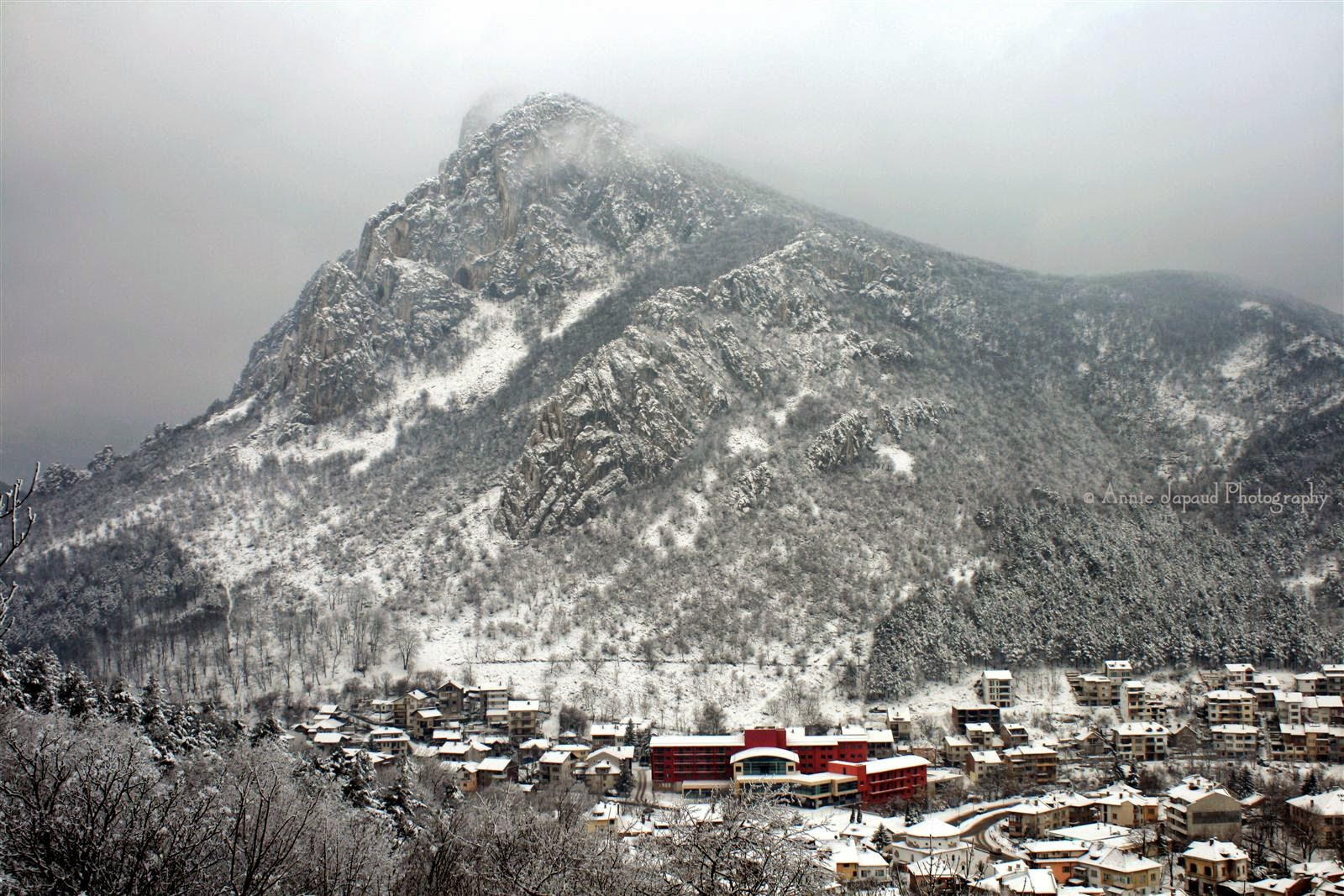 snow view of the mountains and Vratsa Bulgaria