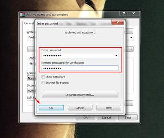cara memberi password pada winrar