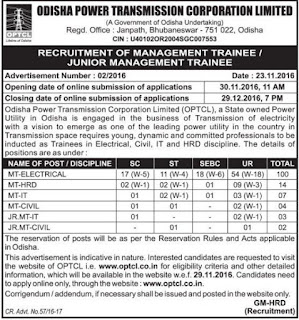 OPTCL Management Trainee (Electrical) Jobs