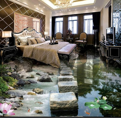 cleft and pond artwork in 3d tiles design with flowers plants for bedroom decoration in modern style