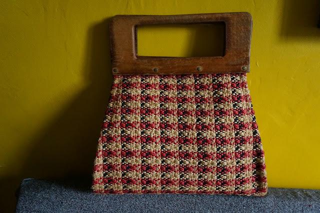 sac en paille anse en bois 1950s des années 50  50s straw handbag