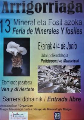 Cartel Feria de fósiles y minerales de Arrigorriaga 2017