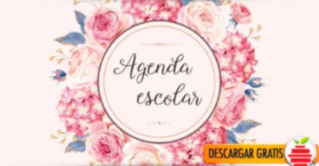 Hermosa agenda de flores para descargar e imprimir gratis