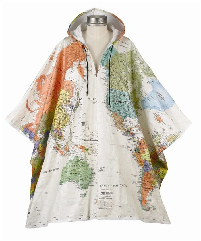 15+ Of The Best Traveler Gift Ideas Besides Actual Plane Tickets - Hooded World Map Tyvek Poncho