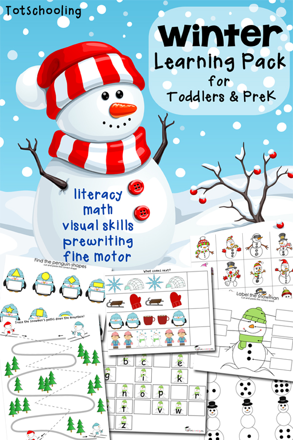 Winter learning pack for toddlers  preschoolers also free printable rh totschooling