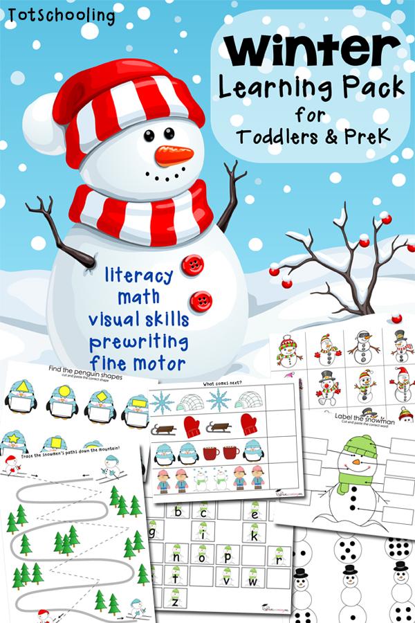 Free Winter Printable Pack for Toddlers  Preschoolers