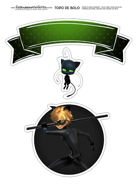 Cat Noir: Free Printable Cake Toppers.