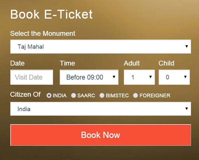 taj mahal online ticket booking