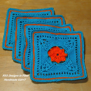 Rosette Square Coaster Set of 4 - Handmade By Ruth Sandra Sperling - RSS Designs In Fiber